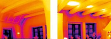 Image thermique de la même pièce sans et avec mise en dépression